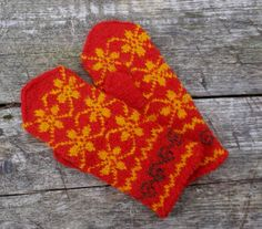 hand red yellow wool mittens patterned by peonijahandmadeshop, $42.00 Mittens Pattern, Knit Mittens, Hand Knitting, Ethnic, Socks, Colorful, Wool, Trending Outfits, Yellow