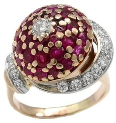 1940's Dome Compartment Ring | Rubies, Diamonds, Yellow and White Gold