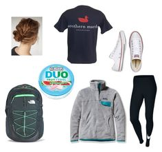 """""""PSAT testing at school"""" by lindsaygreys ❤ liked on Polyvore featuring Patagonia, The North Face, NIKE and Converse"""