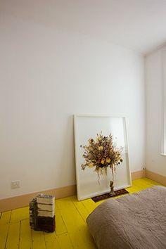 yellow painted floor