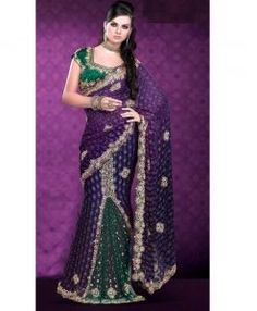 Sari Bollywood Vert & Violet pour mariage Indien
