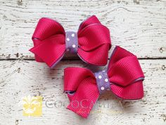 Girl Hair Bow Piggies Set of 2 Hot Pink and by cococamila on Etsy, $4.00
