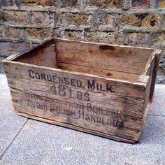 Vintage wooden condensed milk crate. 52cm long, 24cm high, 33cm deep