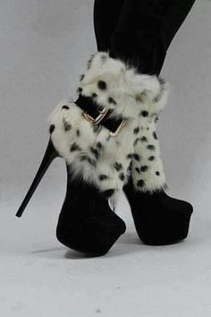 2013 New Arrival Black Suede Leopard Print Rabbit Hair Thic Platform Ankle Boots Sexy Boots, Sexy Heels, High Heels, Stilettos, Heeled Boots, Bootie Boots, Fur Boots, Talons Sexy, Leopard Boots