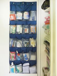 This shoe hanger storage bag idea for linen closet. Organize travel /mini sized items for guest rooms and bath - always keep items in stock! Small Apartment Decorating, Decorating On A Budget, Decorating Websites, Bathroom Organization, Organization Hacks, Organized Bathroom, Organizing Ideas, Organising, Organizar Closets