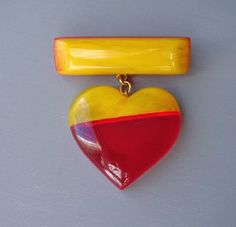 Wonderful Shultz transparent red and yellow Bakelite heart brooch.