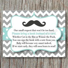 Little Man Baby Shower Digital Book Insert. Chevron Mustache by BumpAndBeyondDesigns, $4.00