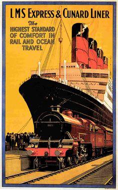 LMS Express Railroad Cunard Line Ocean Cruise Ship Ad Vintage poster ...