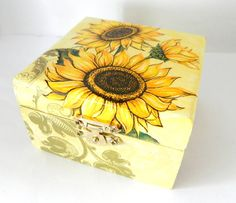 Sunflowers Keepsake Jewelry Box by Sybillinart on Etsy, $14.00