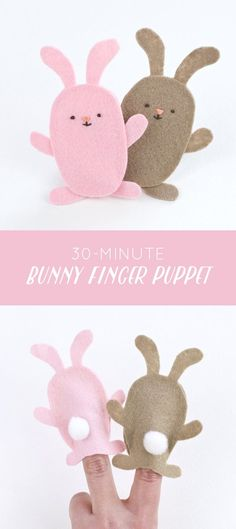 In less than 30 minutes you can make some felt bunny finger puppets for Easter. Easy Felt Crafts, Felt Diy, Easter Crafts, Diy Crafts, Felt Puppets, Felt Finger Puppets, Finger Puppet Patterns, Felt Bunny, Felt Patterns