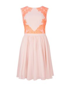 Lace colour block dress - Nude Pink | Dresses | Ted Baker