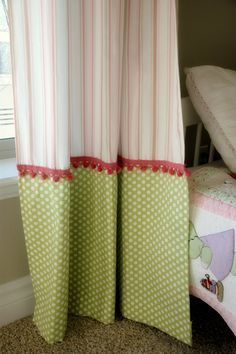 Creative ways to extend the length of your panels: adorable green and pink curtains for a little girl& room with mix and match stripes and polka dots, pom-pom trim in between. Girls Room Curtains, Cute Curtains, Pink Curtains, Curtains With Blinds, Kitchen Curtains, Girls Bedroom, Pom Pom Curtains, Burlap Curtains, Bedroom Curtains