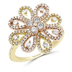 Effy Jewelry Effy 14K Yellow and Rose Gold Diamond Flower Ring, 1.05... ($3,144) ❤ liked on Polyvore