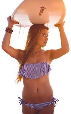 Nautical Blue + White Big Ruffle Strapless Bikini <3