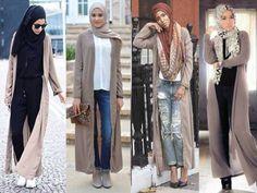 How to wear the mocha long cardigan - Stylish Hijabi Street styles http://www.justtrendygirls.com/stylish-hijabi-street-styles/