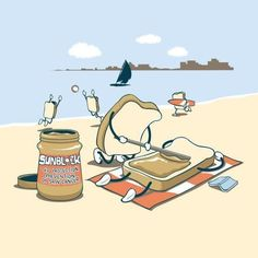 The adorable illustrations by Chow Hon Lam (image) Illustration Mignonne, Funny Illustration, Food Illustrations, Beach Illustration, Cute Puns, Funny Puns, Funny Cartoons, Sketch Manga, Funny Doodles