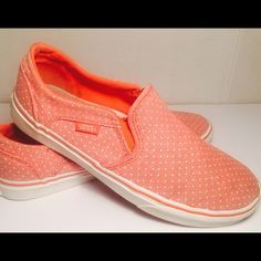 Peach polka dot vans, S 7.5 Classic slip on vans with Polka dots, elastic inserts for easy fit and slide in and out. Canvas upper, waffle, rubber soul. There is a slight knick in the right toe, however hardly noticeable. These are perfect for spring time and can be slipped on for the beach, the park, running errands. A perfect epic shoe made by vans Vans Shoes Sneakers