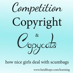 Competition, Copyright, and Copy Cats. A positive spin on clawing your way through the industry.  VERY Good!!