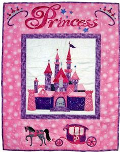 "Princess, designed by Cindy Surina, is a charming 27"" x 35"" quilt for that special little girl. The instructions are for fusible applique, with full size pattern sheets included.  $ 8.00 USD, purchase from Scarlett Rose's Celtic & More."