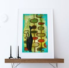 Mid Century Modern Print Cats Abstract Art Print Poster Giclee on Cotton Canvas and Paper Canvas Wall Decor  #midcenturymodern #midcentury #cat #midcenturymodernprint #print #homedecor #retro #vintage #danishmodern #catprint #catsprint #cats #etsy #modern #artprint #print