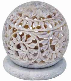 StarZebra Gift Ideas - Soapstone Tealight Candle Holder Sphere Shaped with Intricate Tendril Openwork * Learn more by visiting the image link.