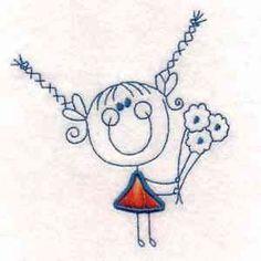 Free Embroidery Design: Stick FIgure Girl - I Sew Free