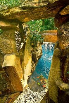 Pool Cave Behind A Waterfall With Seating Pools Amp Spa