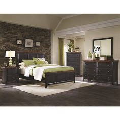 The beautiful Country Cabin 4-piece bedroom set features a gorgeous rustic brown/ rubbed black finish and luxurious features like dovetail felt-lined drawers and a two-toned rustic finish.