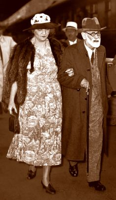 Freud and Martha after fleeing to London: Freud and his daughter Anna were both interrogated by the Gestapo before his friend Marie Bonaparte was able to secure their passage to England. Bonaparte also tried to rescue Freud's four younger sisters, but was unable to do so. All four women later died in Nazi.