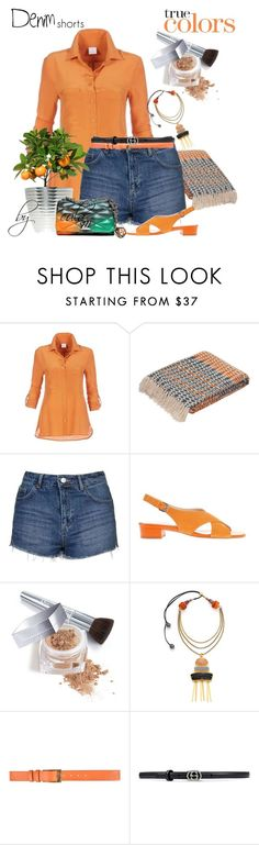 """""""Denim Shorts"""" by eula-eldridge-tolliver ❤ liked on Polyvore featuring Jaipur Rugs, Topshop, Christian Dior, Lizzie Fortunato, Belstaff and Gucci"""