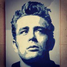 Retrato de James Dean pintado a mano. Acrílico sobre lienzo  A Romero