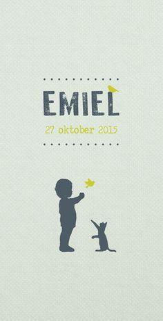 Geboortekaartje Emiel - voorkant - Pimpelpluis - https://www.facebook.com/pages/Pimpelpluis/188675421305550?ref=hl (# lief - jongen - poes - vogel - dieren - silhouet - origineel)
