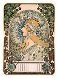 "Alphonse Mucha – Zodiac ~ La Plume A beautiful Art Nouveau Lady. Alphonse Mucha's famous Art Nouveau poster ""Zodiac,"" also known as ""La Plume. Mucha Art Nouveau, Motifs Art Nouveau, Alphonse Mucha Art, Art Nouveau Poster, Posters Vintage, Retro Poster, Poster Art, Vintage Images, Print Poster"