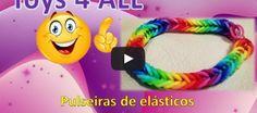 Exemplos de várias #pulseiras da moda de elásticos #RainbowLoom http://toys-4-all-2014.blogspot.pt/2014/05/pulseiras-elasticos-rainbow-loom.html