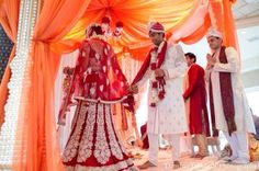 Simple white & red bridal lehenga