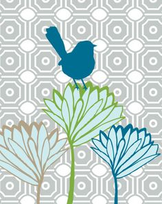 Bird on Lotus Blooms - by Freshline