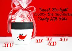 DIY Frosty the Snowman Candy Gift Pots -    How about an easy DIY Frosty the Snowman candy gift pot?  A great gift for teachers, co-workers, friends, neighbors and maybe even your bloggy friends!