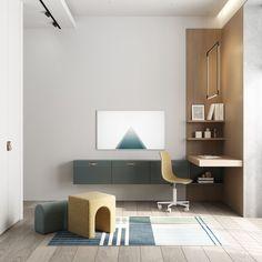 Kid's room #kidsroom #ideasforkidsroom #modernkidsroom minimalism #minimalisticarchitecture #minimalisticinterior #architecture #modernarchitecture #design #minimalisticdesign #minimalistickidsroom Minimalist Interior, Minimalist Design, Kidsroom, Modern Architecture, Kids Bedroom, Corner Desk, Minimalism, Shelves, Furniture