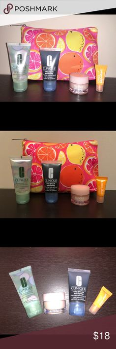 New: Clinique Travel Set with New Clinique Bag New: Clinique Travel Set with New Clinique Cosmetic Bag: New travel size Liquid facial soap oily skin formula, City Block purifying charcoal cleansing gel and Moisture Surge extended thirst relief gel-cream. Plus Sample Clinique pep-start eye cream and New Clinique cosmetic bag, measures approximately 9 inches length and 6 inches height. Great travel bundle with a nice colorful bag! 🍊🍋 Clinique Makeup