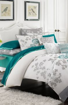 Grey Teal And Purple Bedroom: Kas Designs Floral Embroidered Duvet Cover Bedroom Turquoise, Purple Bedrooms, Silver Bedroom, Bedroom Green, Dream Bedroom, Bedroom Decor, Bedroom Colors, Bedroom Ideas, Black Bedding