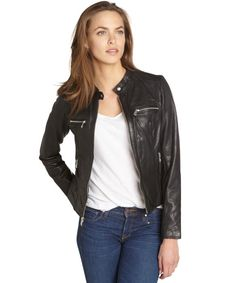 Marc New York black perforated washed leather 'Gracie' moto jacket $223 didn't have size