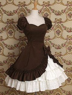 Women Fashion Classic Lolita Drapery Dress Ruffle Tiered Pretty Bow Dress Short Sleeve Two Pieces Lace Patchwork Dress Medieval Vintage Frill Frock Dress High Quality Party Ball Gowns Wedding Dress Cosplay Costume Elegant Dresses, Pretty Dresses, Vintage Dresses, Beautiful Dresses, Gothic Dress, Lolita Dress, Gothic Lolita, Gothic Girls, Frock Dress