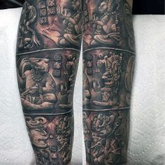 75 Black And White Tattoos For Men - Masculine Ink Designs - Male Legs Fantastic Black And White Tattoo - Mayan Tattoos, 3d Tattoos, Tattoos For Guys, Cool Tattoos, Male Tattoo, Tattos, Native Tattoos, Symbol Tattoos, Amazing Tattoos