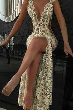 Custom Sexy Sleeveless Beading Split Popular Lace Prom Dresses Backless Prom Dress