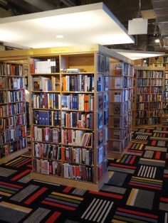 """The post at the click-through is about """"Hyde Park's Seminary Co-op Bookstore,"""" but I pinned this for the VERY cool carpet... sort of perfect for a bookstore!"""