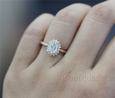 Diana Style Stackable 68mm Oval Cut VS Moissanite by RobMdesign