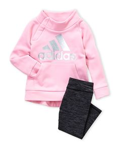 Adidas (Infant Girls) Two-Piece Fleece Pullover & Space-Dye Leggings Set Baby Girl Fashion, Toddler Fashion, Kids Fashion, Outfits Niños, Kids Outfits, Fall Toddler Outfits, Little Girl Outfits, Cute Girl Outfits, Girl Clothing Websites