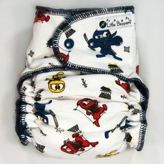 This listing is for a Made-to-Order (You Pick Size and Style) All-in-Two Cloth Diaper in the Ninjas Red Blue Yellow print. The pictures are representative of the print (made into a size Large Hidden-PUL AI2), but your specific diaper may look slightly different.  Little Boppers™ handmade All-in-Two cloth diapers are plush, stylish and stashworthy. Super easy...just put it on your baby and go! No separate cover needed. Add one to your babys cloth diaper stash today!  Features: - Quick-dry…