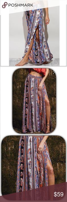 NWT Blue Bohemian Paisley High Slit Maxi Shirt This is a gorgeous sexy skirt with a high slit on the side! It is a beautiful Paisley print of blues and oranges! It does ha a side zipper! Please see measurements! This skirt is stunning! Waist 16 inches lying flat! Length is 43 inches! Boutique Skirts Maxi