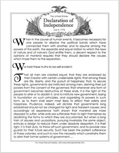 Free printable: Introductory paragraphs of The Declaration of Independence